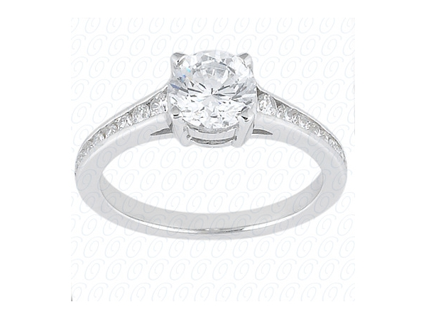 Diamond Engagement Ring - 14k White Gold Diamond Engagement Ring set with a center .68ct Round Brilliant Cut Diamond & (18) .18ct tw Round Brilliant Cut Diamond Accents Channel Set G-H, VS2-SI1  Main Diamond Color H Clarity SI2 Dimensions 5.71-5.73x3.36mm Table 3.1mm 54% Total Depth: 58.8% Girdle Faceted Thin-Medium Culet None Crown 34.0 Degrees 15.5% Pavilion 43% 40.8 Degrees Cut Grade  Very Good Polish Very Good  Symmetry Good Fluorescence Strong Blue
