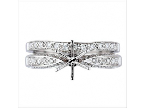 Diamond Semi-Mount Ring - 18k White Gold Diamond Engagement Ring Setting, Pave-Set on Three Sides with 30 Round Brilliant Cut Diamonds .20ct tw G-H, VS2-SI1  2.6 Grams Ring Size 6.5  Semi-Mount Only. Image is of full set.