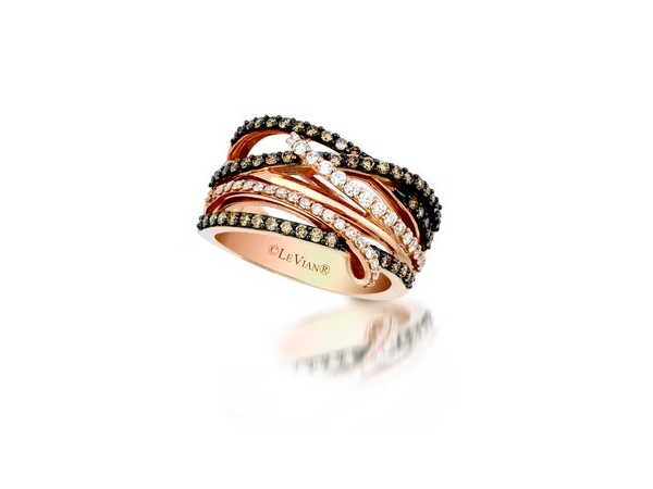 Fashion Ring - Le Vian Chocolatier® 14k Strawberry Gold® Gladiator® Ring with (54) Chocolate Diamonds® and (36) Vanilla Diamonds® G-H, VS2-SI1 .89ct tw