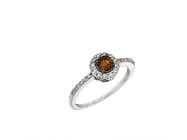 Fashion Ring - Le Vian Chocolatier® 14k Vanilla Gold® ring with (1) Chocolate Diamond® .25ct and (24) Vanilla Diamonds®  .30ct tw G-H, VS2-SI1  Center is Chocolate .25ct RBC