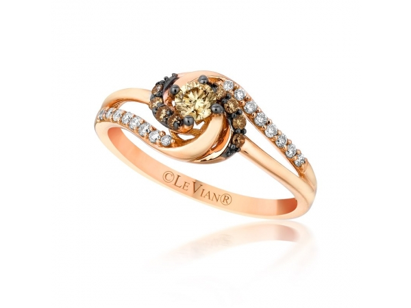 Fashion Ring - Chocolate™ by Petite Le Vian® 14k Strawberry Gold® Sinuous Swirls™ Ring with (9)  Chocolate Diamonds® .19ct tw and (16) Vanilla Diamonds®  .20ct tw G-H, VS2-SI1