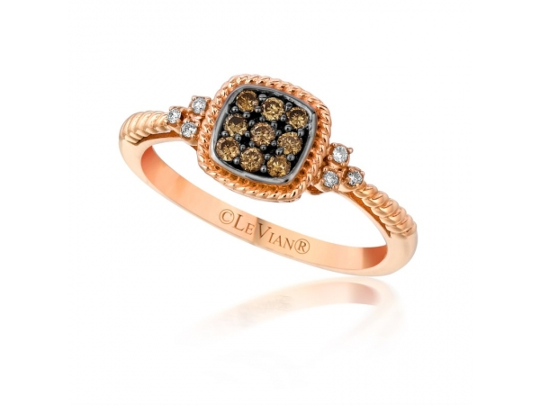 Fashion Ring - Chocolate™ by Petite Le Vian® 14k Strawberry Gold® Framed Clusters™ Ring with (9) Chocolate Diamonds® and (6) Vanilla Diamonds® H-I SI2 .18ct tw