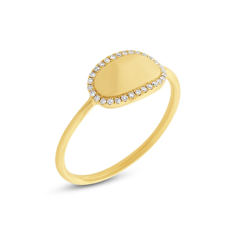 Fashion Ring - 14k Yellow Gold Oval ID Ring with (30) .08ct tw G-H, SI1-2 Single Cut Diamonds Pave