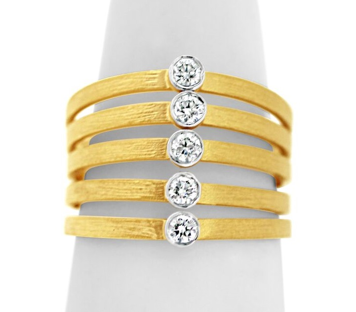 Diamond Women's Fashion Ring - 14k Yellow Gold 5 Row Ring. Each band is bezel set with a single round brilliant cut diamond. .25ct tw G-H, SI1-2. Finger Size 7.  Made in Israel Finished with 22kt Gold