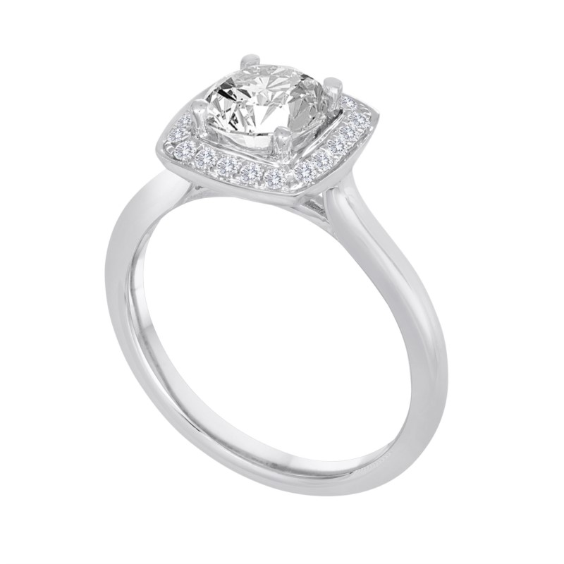 Diamond Semi-Mount Ring - 18K White Gold Halo-Style Engagement Ring Setting with Accented with 20 Round Brilliant Cut Diamonds .16ct tw G-H, VS2-SI1  (Does not include the center stone. The ring is made to hold a 1ct round center stone but can be modified for any shape or size center.)