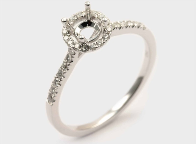 Diamond Semi-Mount Ring - 18K White Gold Halo-Style Engagement Ring Setting with 34 Round Brilliant Cut Diamond Accents .25 ct tw G-H, VS2-SI1  (Does not include the center stone. Made to hold a 1 ct round center stone but can be modified for any shape or size center)