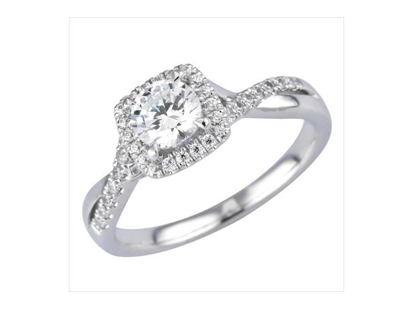 Diamond Semi-Mount Ring - 18k White Gold Diamond Engagement Ring Setting Pave-Set Cushion Shaped Halo & Criss Cross Shank with 34 Round Brilliant Cut Diamonds  0.22ct tw G-H, VS2-SI1  3.61 Grams