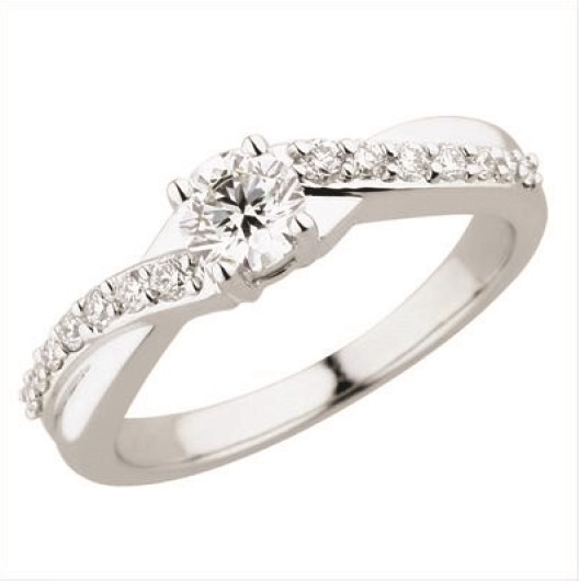 Diamond Semi-Mount Ring - 18k White Gold Diamond Engagement Ring Set in a Four Prong Head, Accented with 14 Round Brilliant Cut Diamond Accents .16ct tw G-H, VS2-SI1  3.5 Grams