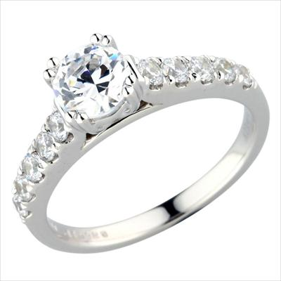 Diamond Semi-Mount Ring - 18k White Gold Diamond Engagement Ring Setting Shared Prong Set  with (10) .50ct tw Round Brilliant Cut Diamonds VS2-SI1 G-H  4.23 Grams