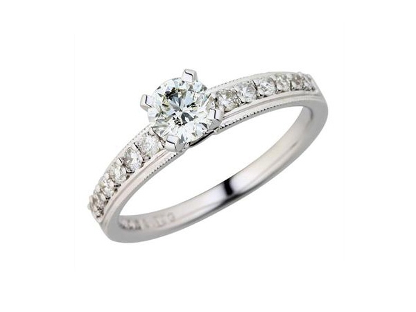 Diamond Semi-Mount Ring - 18k White Gold Diamond Engagement Ring Setting Shared Prong Set & Milgrain Edging with (12) .23ct tw Round Brilliant Cut Diamonds VS2-SI1 G-H  3.30 Grams