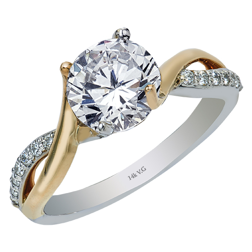 Diamond Semi-Mount Ring - 14k 2-Tone Diamond Engagement Ring Mounting set with (14) .15ct tw Shared Prong Set G-H, SI1-2  Made in the USA  Center Diamond not Included