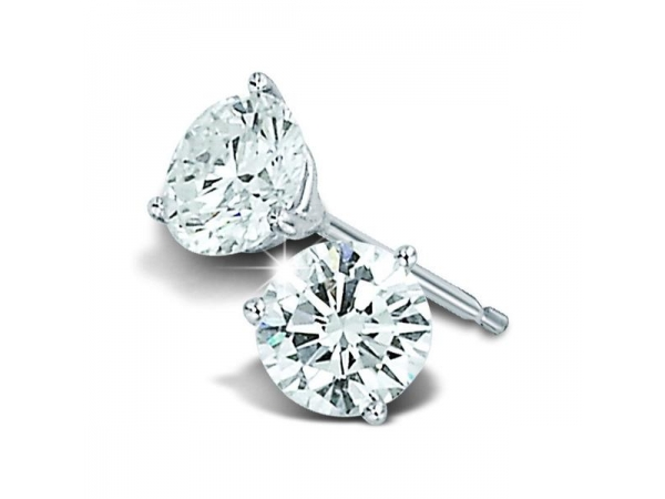 Stud Earrings - 14k White Gold Diamond Stud Earrings 1.10ct tw Ideal Round Brilliant Cut Diamonds G, SI2 set in 3 prong martini settings with friction post backs  .56ct Ideal Round Brilliant Cut Diamond, SI2, G, 5.25-5.28x3.21mm, Culet None, Girdle Frosted Sl Thick, Table 3.1mm 58.8%, Total Depth % 60.9%  .54ct Ideal Round Brilliant Cut Diamond, SI2, G, 5.24-5.23x3.20mm, Culet None, Girdle Frosted Medium-Slightly Thick, Table 3.0mm 57%, Total Depth % 61.1%