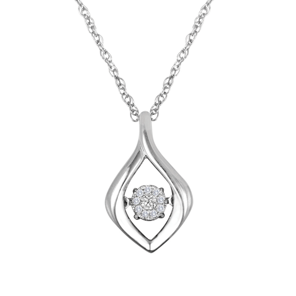 Diamond Pendant - Sterling Silver Heart Beat Collection with .08ct tw Round Brilliant Cut Diamond Cluster Pendant on a 18 inch rope link chain with spring ring clasp H-I, SI-I1