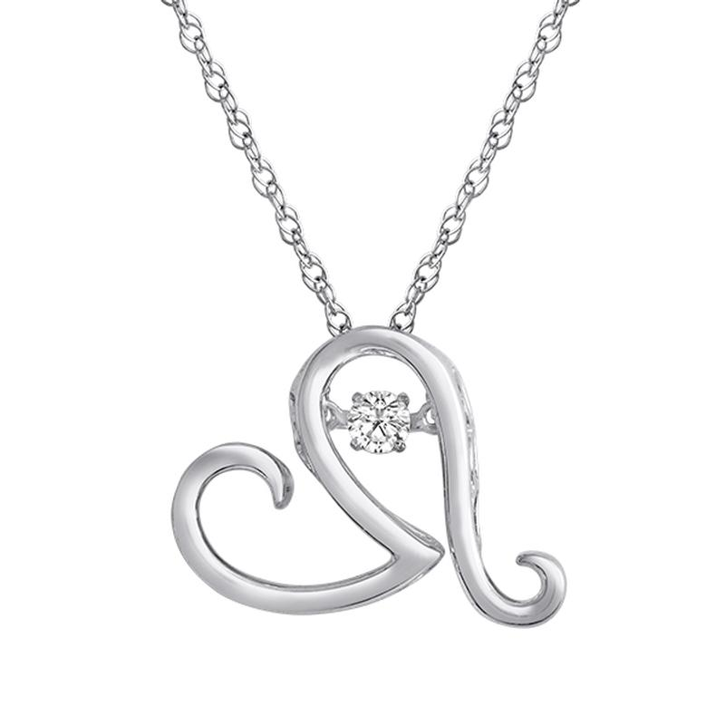 Diamond Pendant - Sterling Silver Steal Her Heart Pendant .10ct H-I, I1 Round Brilliant Cut Diamond Double Circle Pendant on a Sterling Silver Rope Link Chain with Spring Ring Clasp