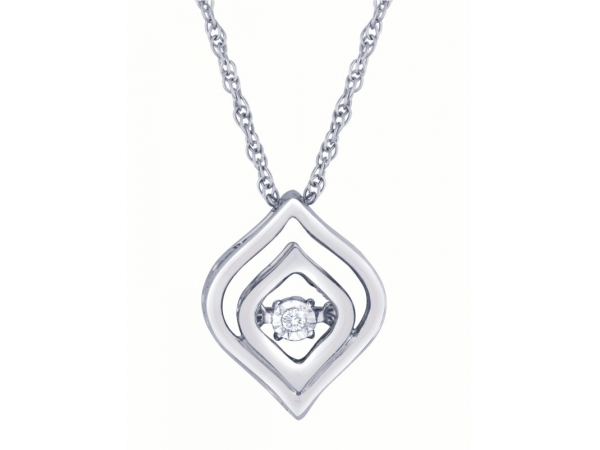 Diamond Pendant - Sterling Silver Heart Beat Collection .01ct Miracle Plate Round Brilliant Cut Diamond I, I1 with Pendant with Rope Link Chain with Spring Ring Clasp