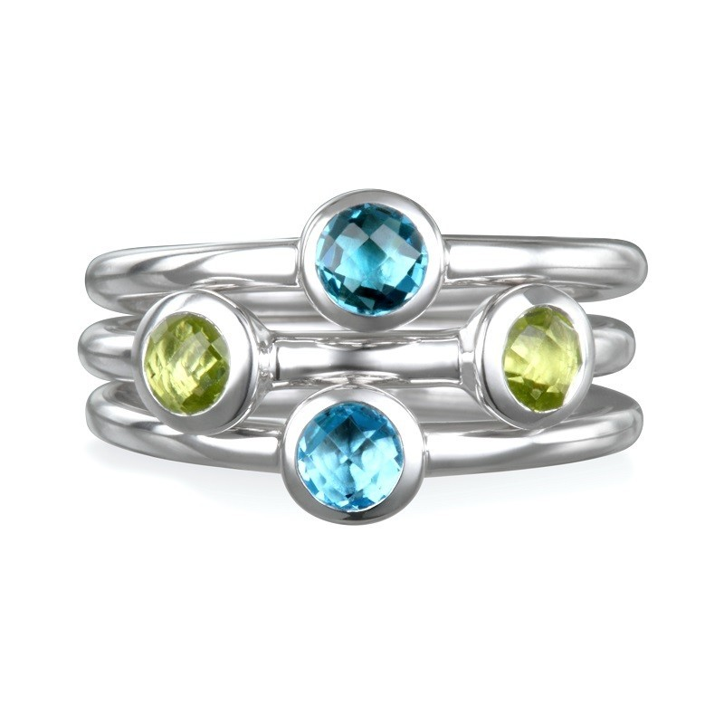 Women's Gemstone Fashion Ring - Sterling Silver Ariva Stacking Rings Faceted Peridot, Light blue topaz, and Swiss blue topaz gemstones highlight these high polish   Size 7  Treatment Topaz R Treatment Peridot H