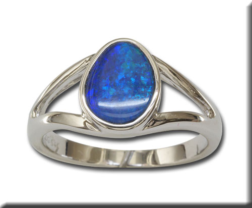 Women's Gemstone Fashion Ring - 14k White Gold  Australian Opal Doublet Ring with Split Shank  Treatment A