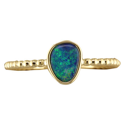 Women's Gemstone Fashion Ring - 14k Yellow Gold Australian Opal Doublet Beaded Ring  Treatment A