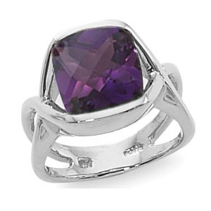 Women's Gemstone Fashion Ring - Sterling Silver Amethyst Ring Set with 10mm Cushion Cut Checker Board Faceted Amethyst Ring Half Bezel Set with Split Shank  Treatment H