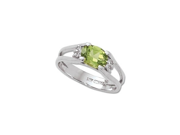 Women's Gemstone Fashion Ring - Sterling Silver Ring set with 8x6mm Oval Peridot Four Prong Set  Treatment H