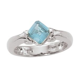 Women's Gemstone Fashion Ring - Sterling Silver Ring set with 6.0mm Checker Board Faceted Blue Topaz   Treatment R