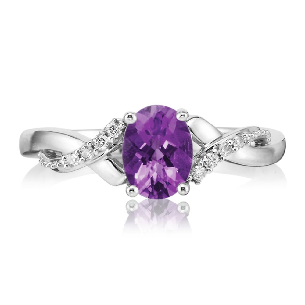 Women's Gemstone Fashion Ring - 14k White Gold Amethyst and Diamond Ring. One oval amethyst .85ct with 8 round brilliant cut diamond accents .056ct tw H-I, SI2  Treatment: H
