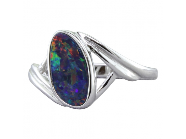 Women's Gemstone Fashion Ring - Sterling Silver Australian Opal Doublet Ring  Treatment A Finger Size 6.5