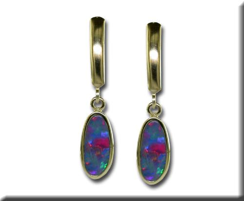 Gemstone Earrings - 14k Yellow Gold Australian Opal Doublet Earrings Bezel Set with Lever Back Posts  Treatment A