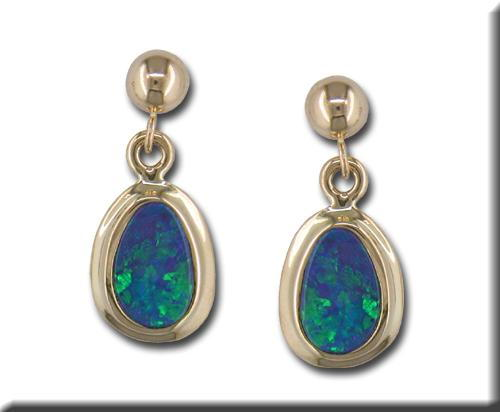 Gemstone Earrings - 14k Yellow Gold Australian Opal Doublet Drop Earrings with Friction Post Backs  Treatment A