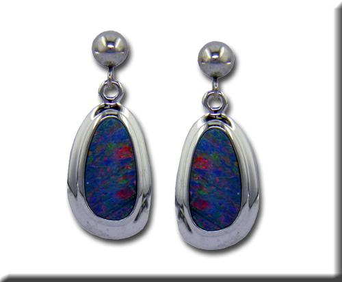 Gemstone Earrings - 14k White Gold Australian Opal Doublet Earrings Bezel Set with Friction Post Backs  Treatment A