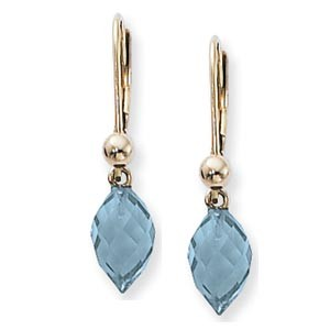 Gemstone Earrings - 14k Yellow Gold Earrings with Swiss Blue Topaz Almond Briolette Drop Earrings with Lever Backs  Treatment R