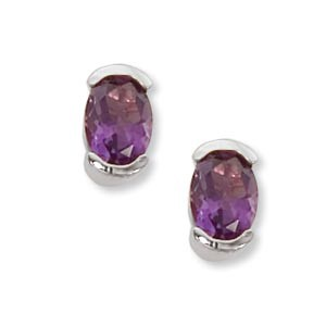 Gemstone Earrings - Sterling Silver Earrings with (2) 7x5mm Oval Amethyst Half Bezel Set with Friction Post Backs  Treatment H