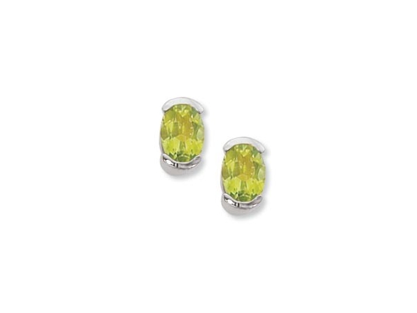 Gemstone Earrings - Sterling Silver Earrings with (2) 7x5mm Oval Peridot Half Bezel Set with Friction Post Backs  Treatment H