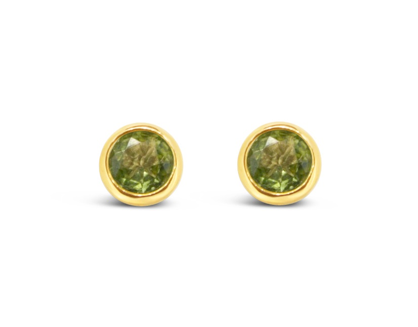 Gemstone Earrings - 14k Yellow Gold (2) 7.0mm Round Peridot Bezel Set with Friction Post Backs  Treatment N