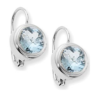 Gemstone Earrings - Sterling Silver 7.0mm Round Bezel Set Aquamarine Pendant on a 18