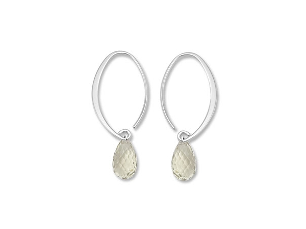 Gemstone Earrings - Sterling Silver Nancy B Designs Small Simple Sweep Green Amethyst Briollet Drop Earrings & Rhodium Plated  Made in the USA  Treatment H