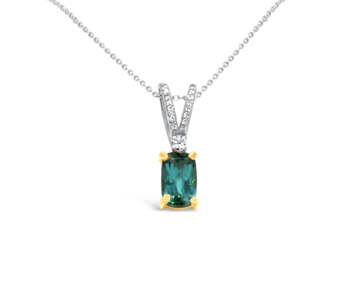 Gemstone Pendant - 18k Yellow Gold & 14k White Gold Green Tourmaline & Diamond Pendant with (1)  8x5.2x3.45mm 1.20ct Est Rectangular Cushion Cut Green Tourmaline four prong set with (17) .07ct tw Round Brilliant Cut Diamond Accents G-H, VS2-SI1, G-H  Tourmaline N