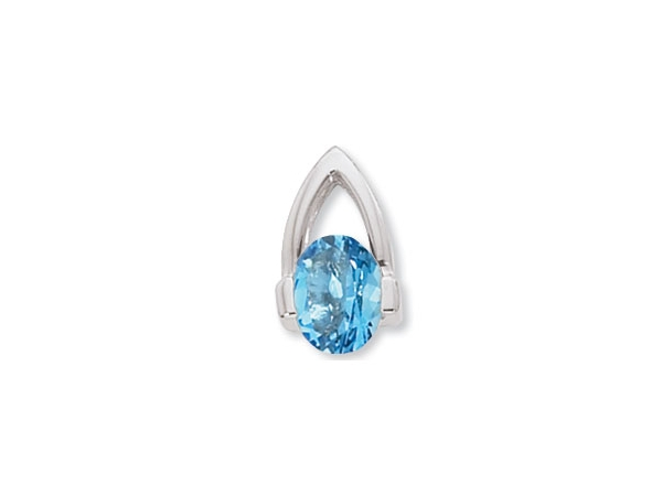Gemstone Pendant - Sterling Silver Nancy B Designs 8x6mm Oval Swiss Blue Topaz  Prong Set Rhodium Plated   Made in the USA  Treatment H, R
