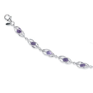 Gemstone Bracelet - Sterling Silver 4.0mm Faceted Beaded Amethyst Gemstone Bracelet Set in Cages with lobster claw clasp 7.4