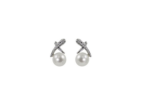 Earring - 14k White Gold Pearl Earrings with 5.5-6mm Freshwater Cultured Pearls, Accented with 6 Diamonds .04 ct tw