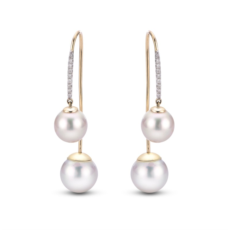 Earring - 14k Rose Gold Front & Back Freshwater Pearl Earrings, Set with Freshwater Pearls and Accented with Diamonds .09ct tw  Pearl Treatment B, D