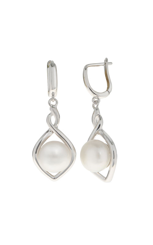 Pearl Earrings - Sterling Silver Drop Button Earrings with (2) 9.5-10mm Cultured Button  Fresh Water Pearls  Treatment B, D