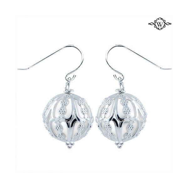 Pearl Earrings - Sterling Silver 14-15mm Windsor Cultured Fresh Water Pearl Caged Earrings with Sheppard Hook Backs  Treatment B, D