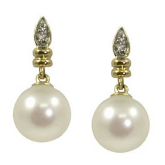 Pearl Earrings - 14k Yellow Gold 8.0-8.5mm Cultured Fresh Water Pearl Earrings with .03ct tw Round Brilliant Cut Diamond Accents G-H, SI1-2
