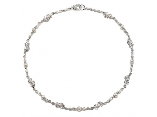 Pendant - Sterling Silver Ariva Designs East Collection Necklace with (6) 5.0-5.5mm Cultured freshwater white pearl stations with textured blooming lilies & textured links with a lobster claw clasp 18