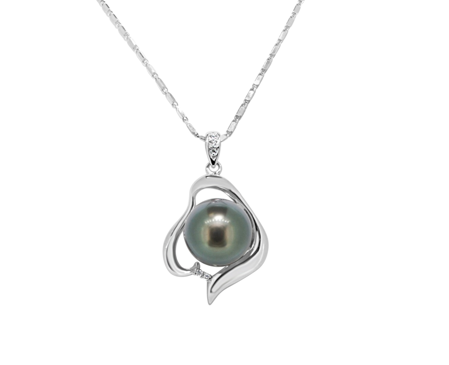Pendant - 14k White Gold Custom Made Pearl Pendant with Center 11.50mm Cultured Tahitian Pearl with (5) .025ct tw Round Brilliant Cut Diamonds Pave Set  Treatment Pearl Natural