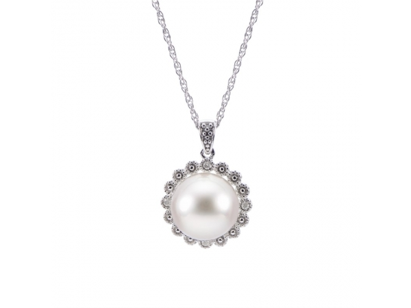 Pendant - Sterling Silver Pearl Pendant with One 9-9.5mm Fresh Water Cultured Pearl in Sterling Silver Halo, Accented with 4 Diamonds .02ct tw on an 18