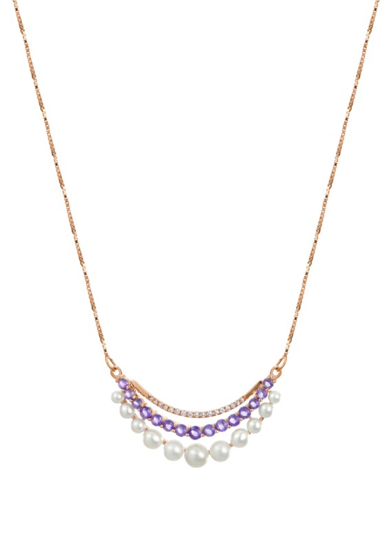 Pendant - 14k Rose Gold Necklace Set with Freshwater Pearls, Amethysts, and Diamonds.  Treatment Pearl B Diamonds: .07ct tw H-I, SI1-2