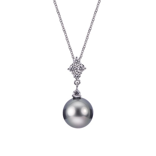 Pearl Pendant - 14k White Gold Tahitian Pearl and Diamond Pendant on an 18
