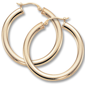 Gold Earrings - 14K Yellow Gold Flat & Oval Hoop Earrings  Measurements: 3x30mm  Made in the USA